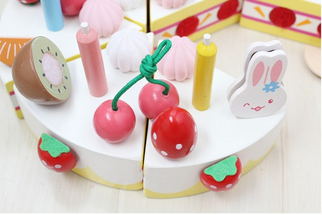 Free shipping Kids wooden Block decoration cake set scale model simulation play house toy Wooden children 39 s educational baby toy in Kitchen Toys from Toys amp Hobbies