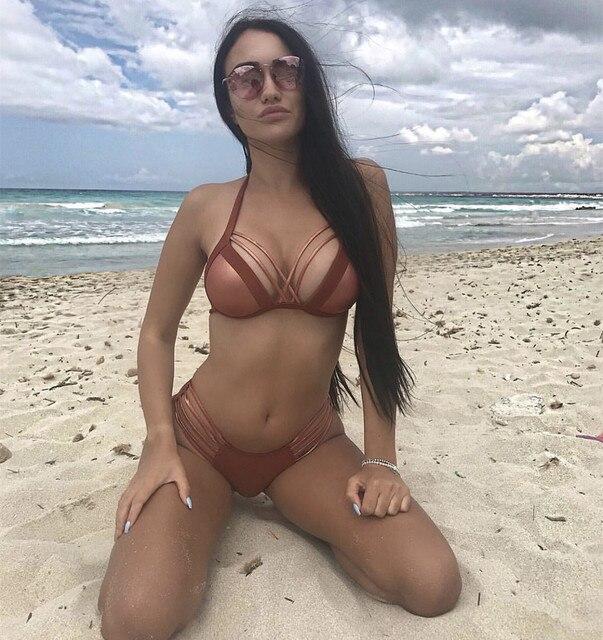 9016eccd85d469 Summer For Women s Wear Suit Female Bikinis Girl Swimwear 2018 A Full Swimsuit  Women Vintage Express Lady Sexy Gold Cloth Split