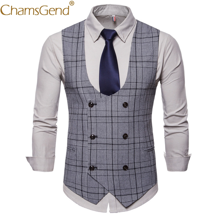 Coat Suit Vest Plaid Classic Business Gentleman Wedding-80808 British Formal Occasion
