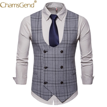 Classic British Plaid Vest Gentleman Business Man Formal Suit Blazers