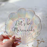 Mermaid Shell Glass Plate Dish Small Fancy Jewelry Storage Tray Ring Trinket Dish Wedding Decoration Gift for Girls
