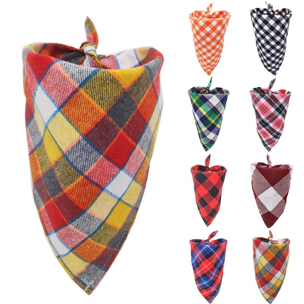 Adjustable Plaid Dog Bandana Pet Dog Cat Neck Scarf Cleaning Triangle Bandage Towel Grooming Dog Pet Accessories Dog Supplies