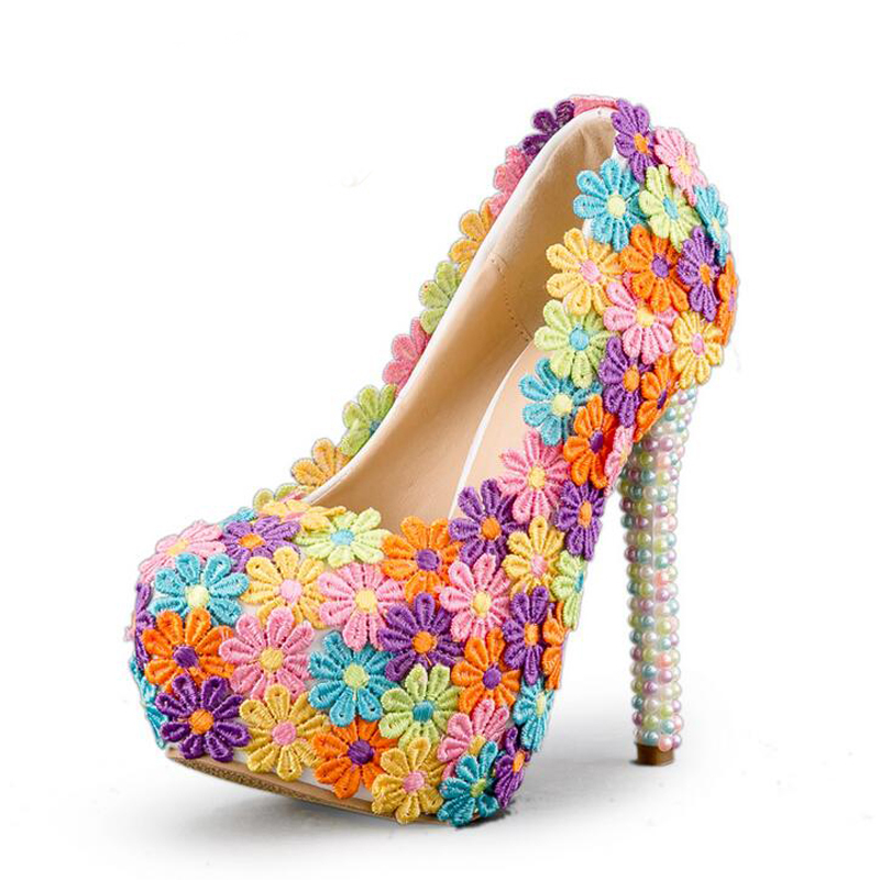 3ab180da022 US $64.73 22% OFF|Colorful Lace Flower Wedding Shoes Multicolor Pearl High  Heel Banquet Pumps Handmade Cinderella Prom Party Shoes Multicolor-in ...
