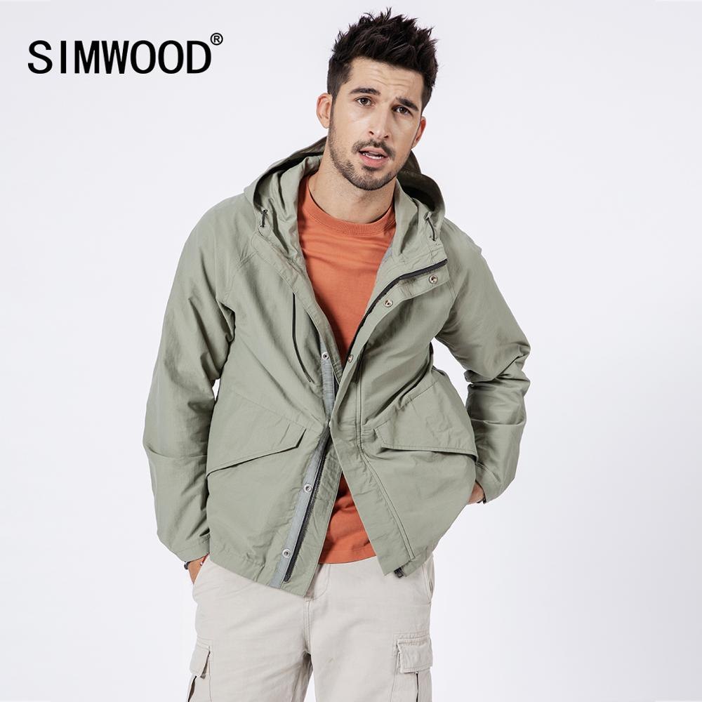 SIMWOOD 2019 الخريف جديد جاكت مزود بغطاء للرأس الرجال عارضة الأزياء معاطف عالية الجودة العلامة التجارية الملابس سترة واقية 190081-في جواكت من ملابس الرجال على  مجموعة 2
