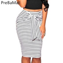 Summer Bandage Bow Skirt Women High Waist Sexy Striped Slim Short Pencil Skirts Fashion Hip Packed For Woman C214
