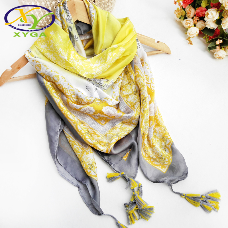 Spring Flower Printed Women Scarf Soft Square Silk Twill Shawls Summer Ladies Pashmina Thin Fashion Viscose Scarves and Wraps