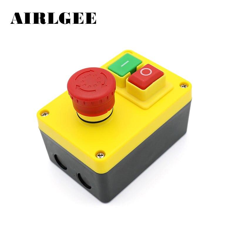 Interrupteur électromagnétique KJD17D-2 W Box 16A 250 V interrupteur à bouton-poussoir marche/arrêt pour équipement de machines-outils avec fonction d'arrêt d'urgence