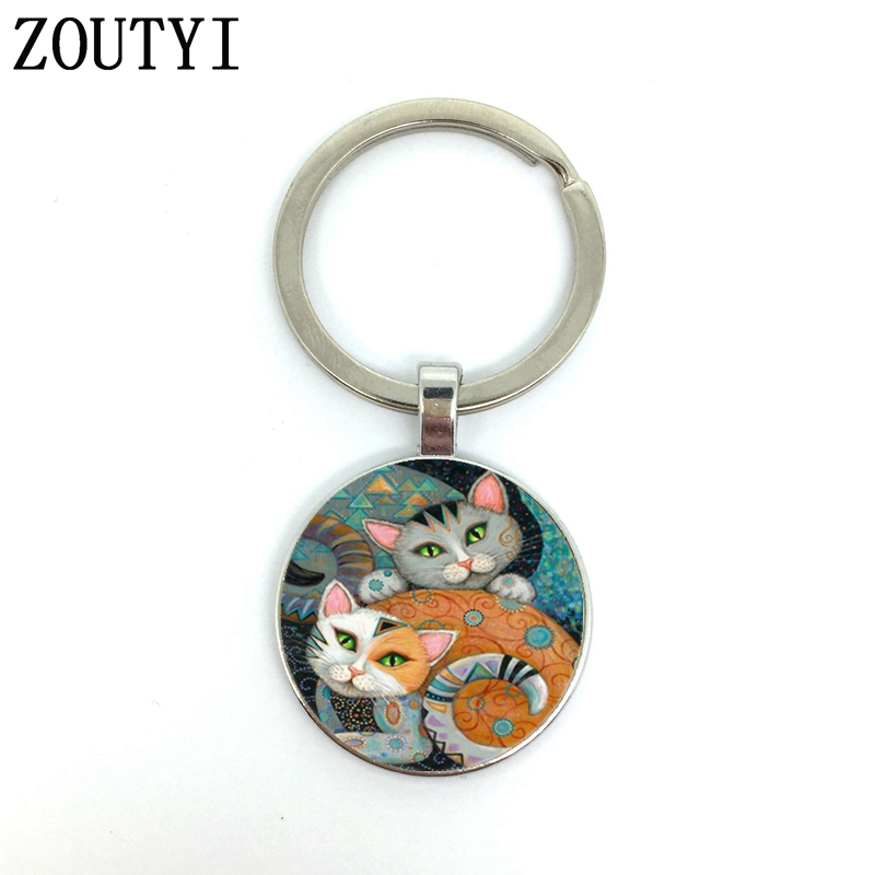 New/hot, Glamour Two Cat Photos, Male And Female Keychain Quality Car Pendant, Convex Glass Keychain.