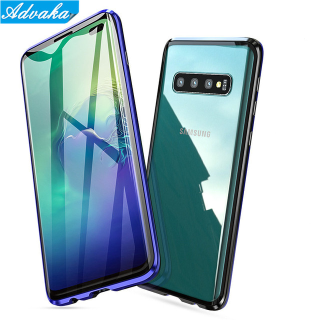Advaka Anti-knock Strong Magnetic Double-side Tempered Glass Sheet Case For Samsung Galaxy S8 S8+ S9 S9+ Note8 Note9 S10 S10+