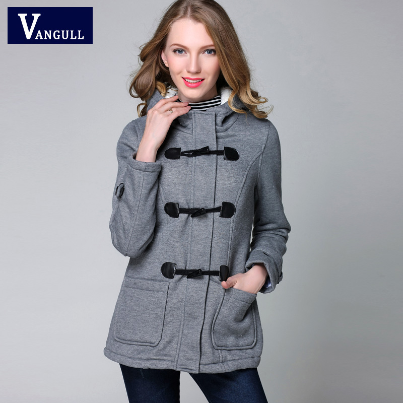 colorful-space Jacket Coat Winter Women Hooded Wool Blend Praka Classic Horn Leather Buckle Coat Slim