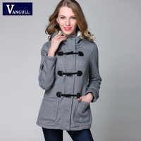Chaqueta de Invierno para mujer abrigo de invierno con capucha moda Otoño mujer cuerno parka Abrigos con botones Abrigos Y chaquetas de invierno para mujer 2015