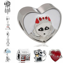 Btuamb Small Statement Snowman Leaves Tassel Love Heart Pendant Enamel Alloy Beads Fit Pandora Bracelets Women Making Jewelry(China)