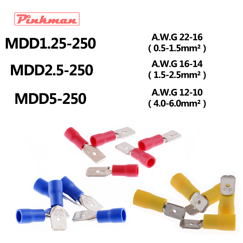 MDD Male Insulated Electrical Crimp Terminal Connectors for 0.5-6mm2 AWG  22-10 Cable 2264f0d8c