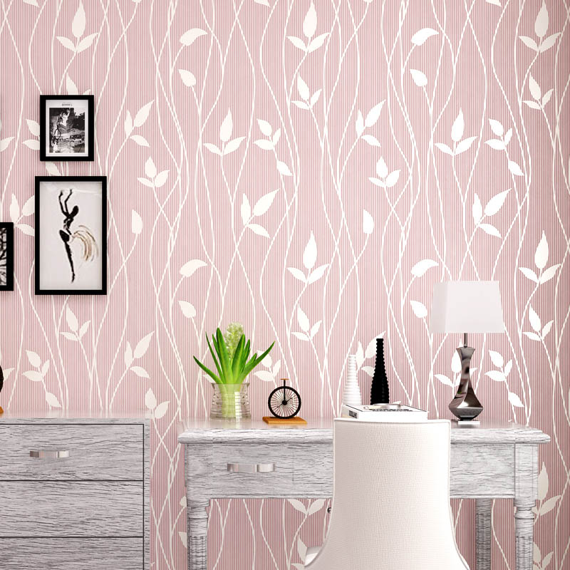 simple bedroom 3d wall walls background modern living romantic fresh wallpapers leaves sofa paper pastoral woven non nonwovens papel flocking