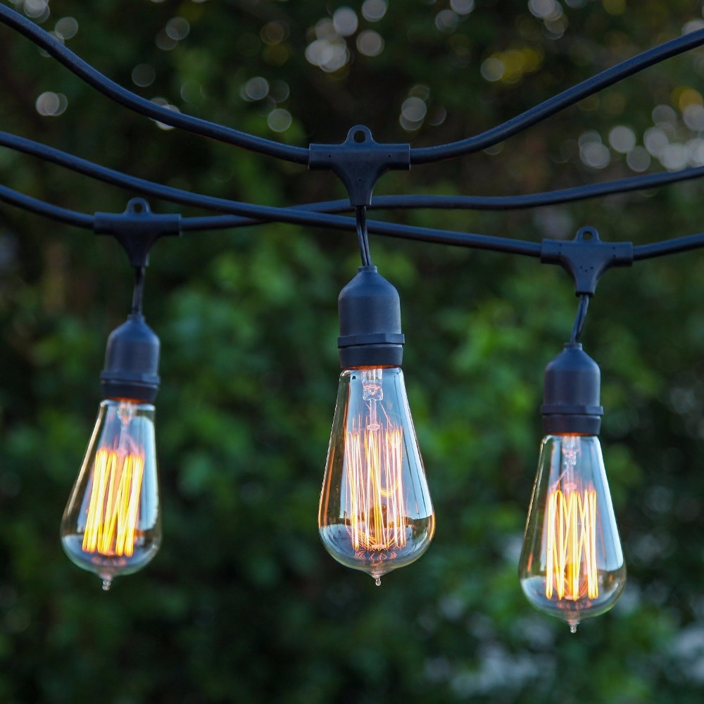 Commercial String Lights Outdoor String light company vintage 48 ft outdoor commercial string lights string light company vintage 48 ft outdoor commercial string lights with 15 suspended sockets and 15 clear s14 bulbs e27 globe in lighting strings from workwithnaturefo