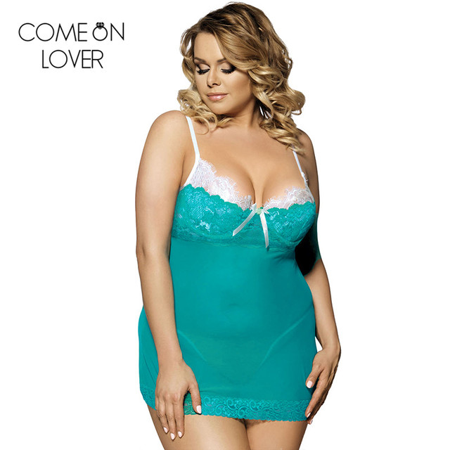 R80073 Comeonlover Green color lace sexy plus size lingerie high quality dress+g string lenceria sexy hot women night dress