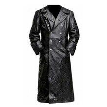 MJartoria/кожаная куртка с застежкой на пуговицы, длинный Тренч, пальто с отворотом, стильный воротник премиум-класса, черный кожаный плащ-Тренч