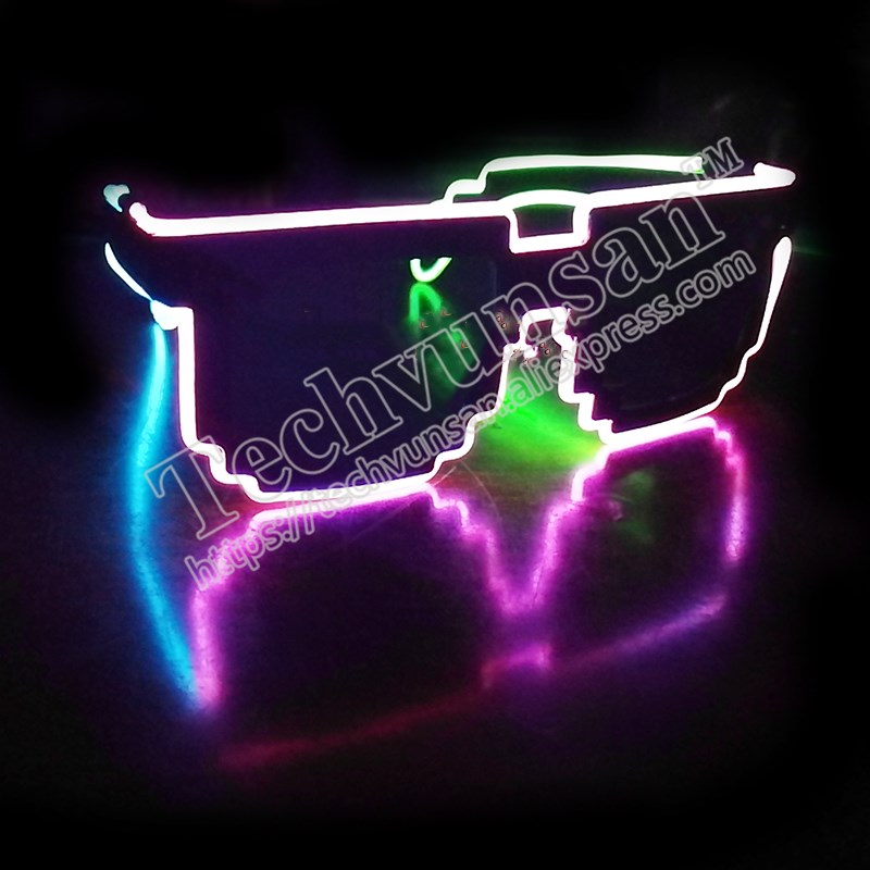 Creative trend Music Festival Party LED glowing Sunglasses Personality, fashion, day and night, RAVE mosaic, dual-purpose glasse