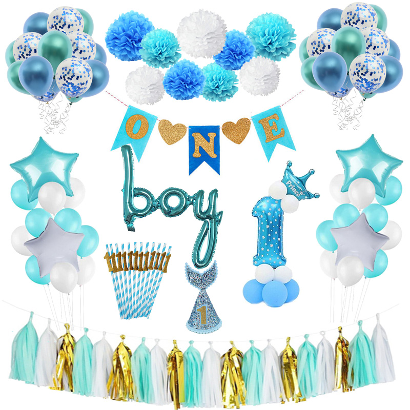 First Birthday Boy Party Baby 1st Decoration Shower One Year Old Christening Supplies