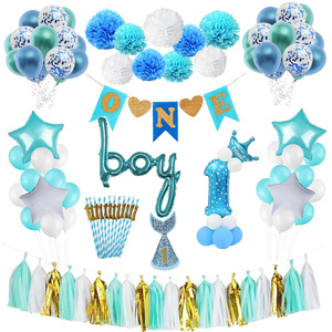 First Birthday Boy Party Baby Boy 1st Birthday Party Decoration Boy Baby Shower One Year Old Christening Party Supplies