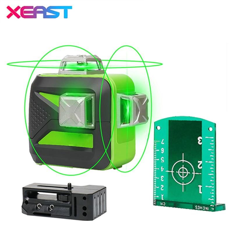 FERMENTO 12 linhas XE-93TG bateria de lítio verde nível do laser 360 Linha Vertical E Horizontal de Auto-nivelamento Cruz 3D Laser nível