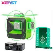 XEAST 12 линий XE-93TG литиевая батарея зеленый лазерный уровень 360 вертикальный и горизонтальный самонивелирующий крест-линия 3D лазерный уровень