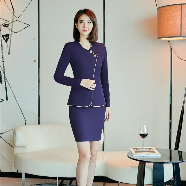 autumn winter ladies professional blazers suits with jackets and skirt slim fashion business. Black Bedroom Furniture Sets. Home Design Ideas