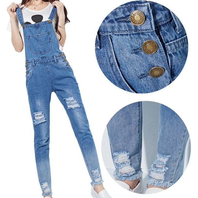 Otoño moda mujer Skinny Jeans monos correas algodón Denim Playsuits pantalones mujeres agujero monos estilo Preppy Denim monos