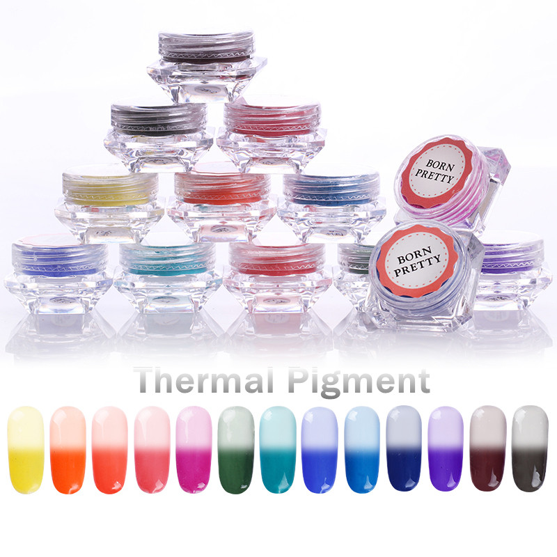 1 lådor BORN PRETTY Thermochromic Pigment Termisk Färg Byte Temperatur Pulver Dammdekorationer Nail Art Gradient Powders