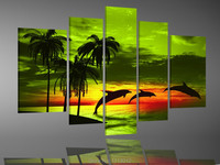 Green Sun Sky Sea Palm Trees Dolphin Oil Painting On Canvas 5 Pcs Sets Wall Art Picture For Living Room Home Decoration Modern