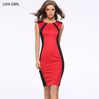 2017 European Fashion Suit Dress Close Sexy Thin Package Buttocks Dress Spelling Color Split Joint Sleeveless