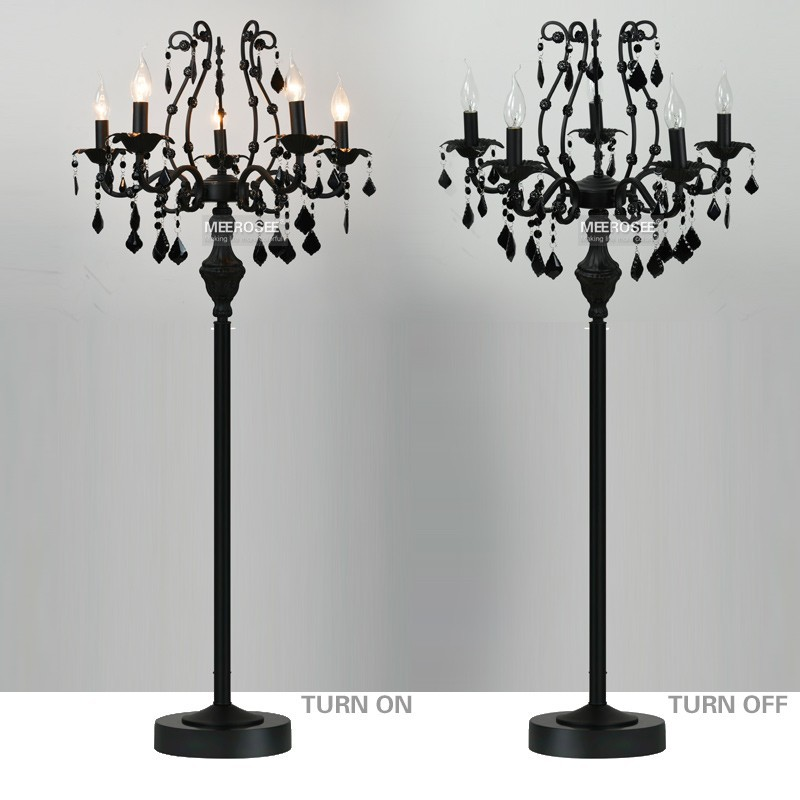 Vintage 5 Lights Crystal Floor Lamp Stand Light Fixture Cristal Re De Candelabra Standing Centerpiece