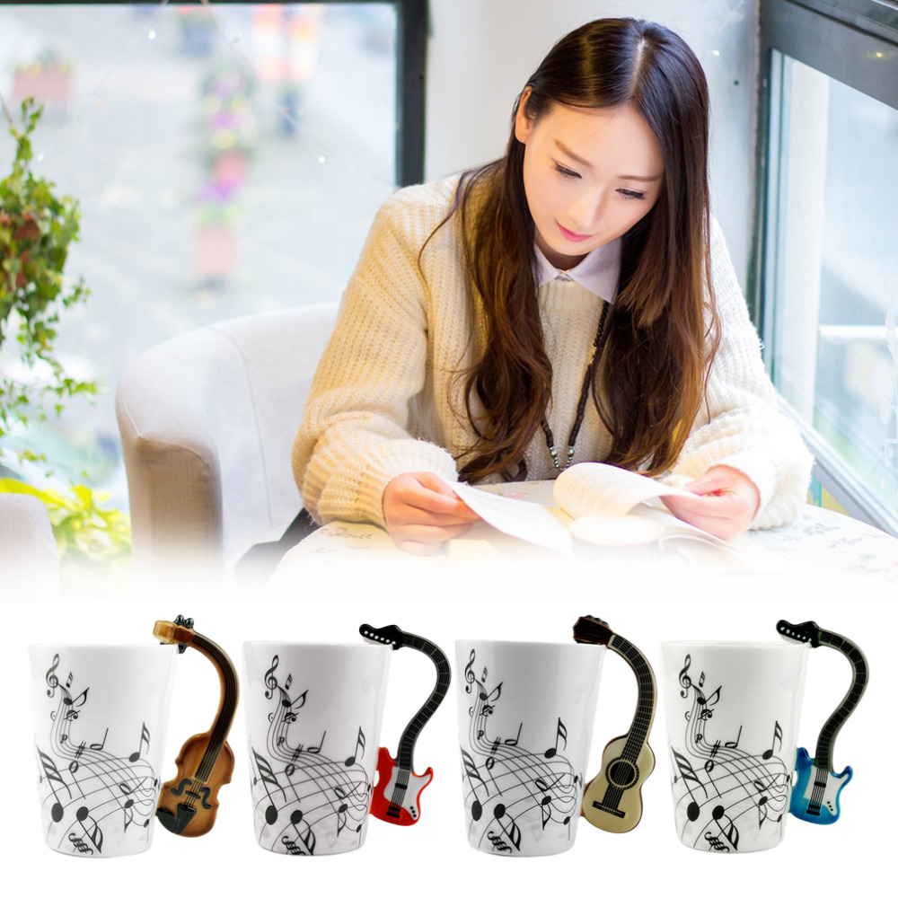 4 Colors Novelty Art Ceramic Mug Mugs Musical Instrument Note Style Coffee Milk Cup Christmas Gift Home Office Drinkware