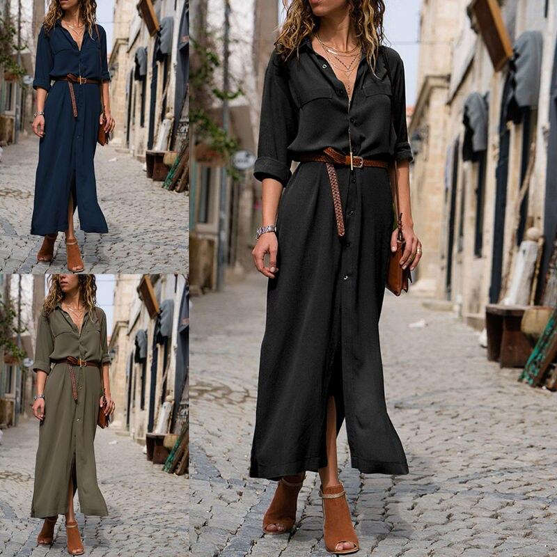 2018 New Fashion Women Casual Long Dress Women Autumn Winter Long Sleeve Button Shirt Maxi Dresses Ladies Vestido