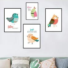 Cartoon Birds Brave Quotes Canvas Paintings Indian Style Wall Art Pictures Posters Prints Kids Gift Bedroom Home Decor