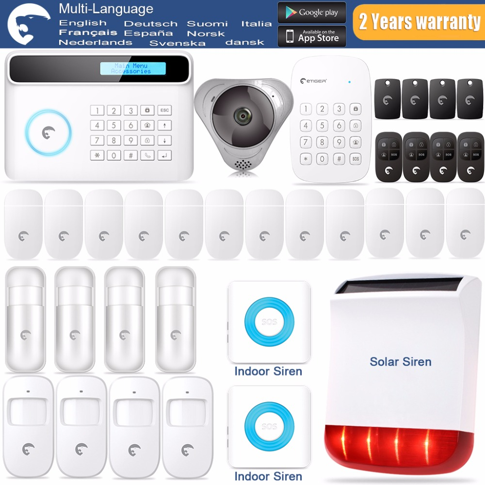 2017 Smart Home alarm  Etiger S4 GSM&SMS Security Alarm System French/Dutch/Italian/Netherlands Language Voice Custom Settings etiger hd network camera etiger s4 burglar alarm gsm sms security system for home office
