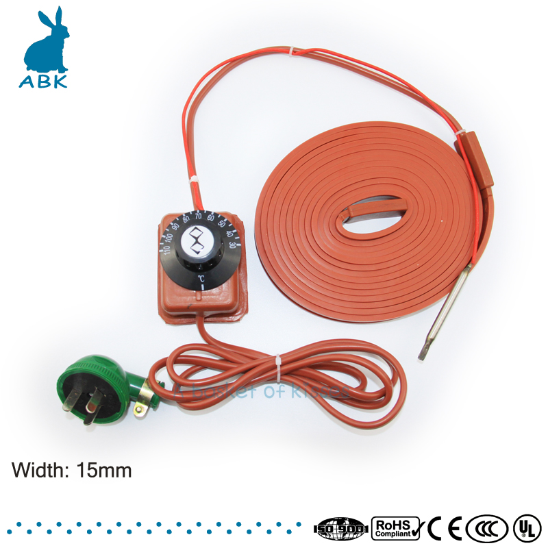220V width 15 mm Silicon rubber heating cable Simple installation heating wire Antifreezing heat preserving Heating cable 180 mm wide 900 mm length silicone rubber heating plate heating belt bucket heater heating cable