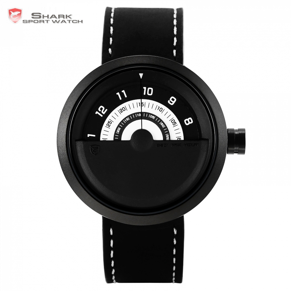 Bonnethead Shark Sport Watch Black White Rotate Analog Design Quartz Mens Real Leather Creative Watches Relogio