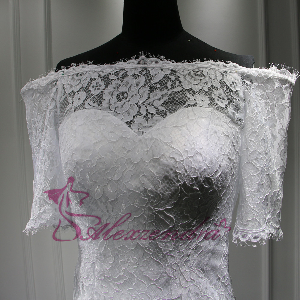 Custom Made New Short Sleeves Lace Mermaid Wedding Dress vestidos de noiva Off the Shoulder Bridal Gowns Wedding Gowns for Bride 7
