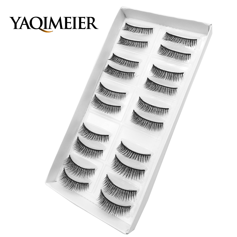 YAQIMEIER 10 Pairs/Lot Natural Black Long Fake Eyelashes Korea Charming Synthetic Hair Full Strip 3d False Eye Lashes Wholesale