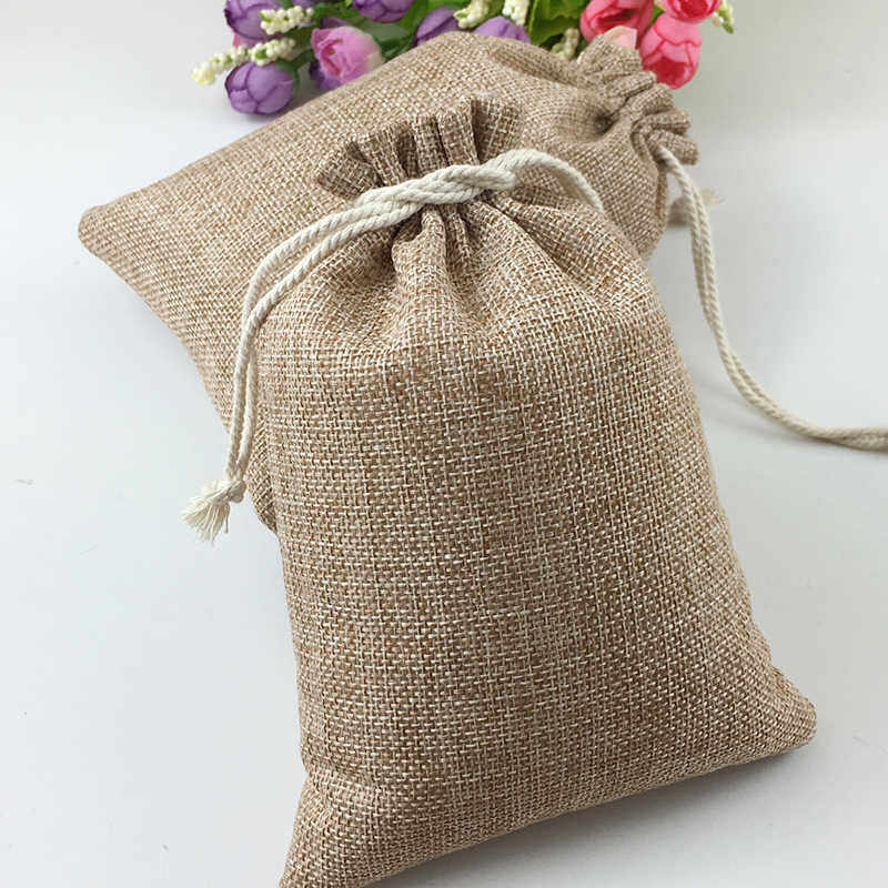 50pcs Vintage Natural Burlap Hessia Gift Candy Bags Wedding Party Favor Pouch Birthday Supplies Drawstrings Jute Gift Bags