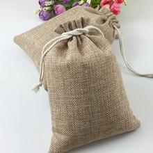 50 יחידות Hessia טבעי יוטה בציר מתנת מפלגה טובה פאוץ אספקת יום הולדת חתונה שקיות ממתקי שקיות מתנת יוטה שרוכים