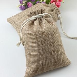 Image 2 - 60pcs Jute Bags Natural Burlap Hessia Gift Bags Wedding Party Favor Pouch Drawstring Jute Gift Bag Packaging Bag Storage Travel