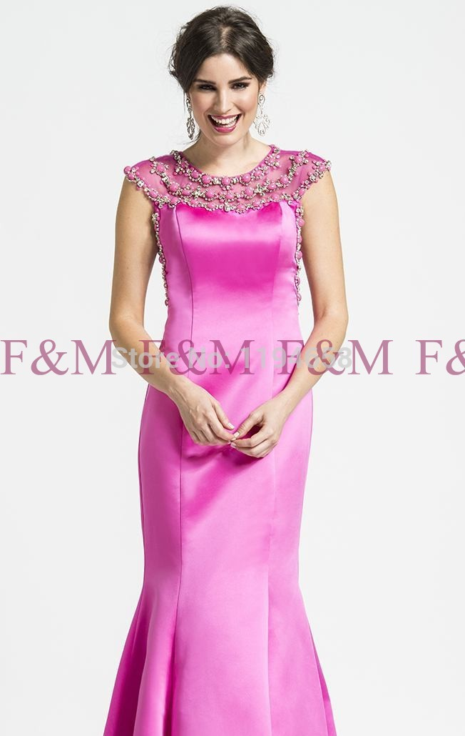 Sexy Lady Beautiful New Hot Fashion Design Crystals Beads Cap Sleeve Fuchsia Royal Blue Floor Length