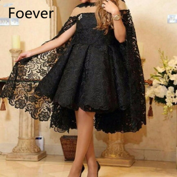 2019 Designer Custom made Lace Black Short Plus size Saudi Arabia Prom Dress Short Evening Party Gown