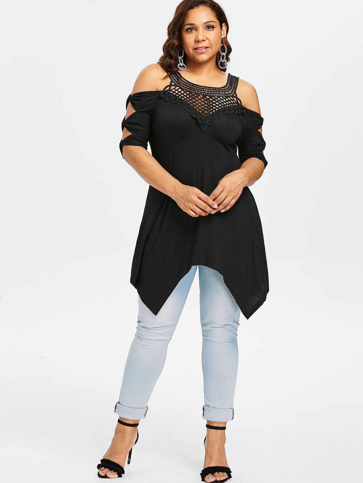 Wipalo плюс размер с открытыми плечами решетка передний носовой платок Женская футболка лето осень черный бант Половина рукава футболка Топы Футболки