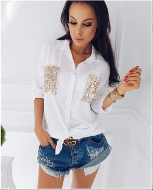 a9ac9bbbab4 Модные женские туфли Повседневное хлопковая блузка с длинными рукавами  рубашка Осень Свободные блесток карманы украшения Блузка
