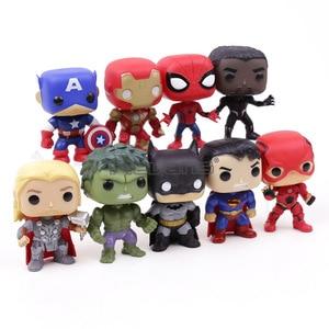 Image 2 - DC סופר גיבורי נוקמי קפטן אמריקה איש ברזל ספיידרמן שחור פנתר Thor PVC פעולה איור צעצועי 9 יח\סט