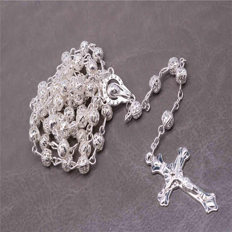 6MM Crystal Silver Cross Necklace Premium Silver Hollow Bead Necklace Rosary, Silver Beads Cross Necklace