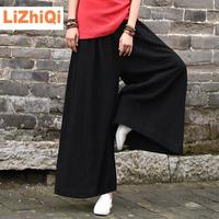 LIZHIQI 2017 Fluid Women S Trousers Cotton Linen Loose Long Culottes Female Wide Leg Pants Black